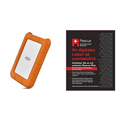 LaCie Rugged Mini 2 TB externe tragbare Festplatte (USB-C) + STZZ794 Produktkarte mit Code zur Registrierung