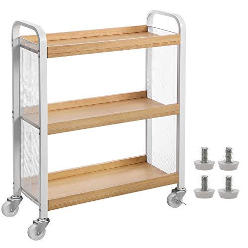 VASAGLE Servierwagen, Küchenwagen mit Universalrollen, Küchenregal mit verstellbaren Füßen, stabiles Metallgestell, 66 x 26 x 85 cm, Weiß-Natur LRC66WN