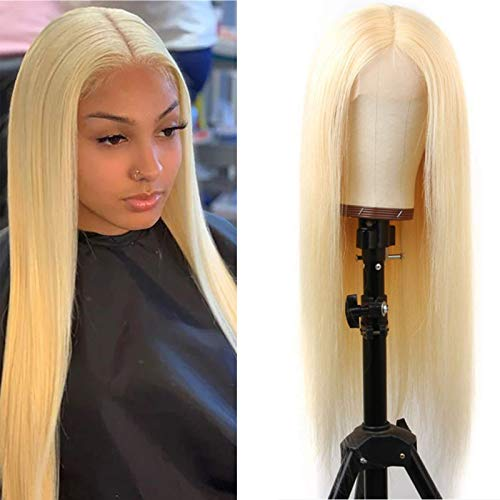 ZWJSH 613 Blonde Lace Front Wig Human Hair Pre Plucked 13x5x1 T Part Lace Wigs Brazilian Straight Blonde Human Hair Wigs for Black Women (613 T-Part Lace Wigs,22Inch)