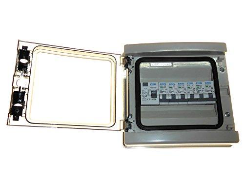 ESR - Cuadro eléctrico, 6 MCB - 63 amp 30 mA Interruptor de Viaje y 2 de 6 A, 2 de 16 A, 2 interruptores IP65 Impermeables de 32 A