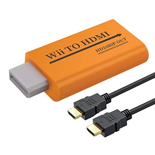 AUTOUTLET Wii zu HDMI Adapter, Wii Hdmi Konverter 1080P/720P/480P Full HD, mit 3,5mm Video Audio Ausgang und 1m HDMI Kabel, Unterstützt alle Wii-Anzeigemodi für Nintendo Wii orange