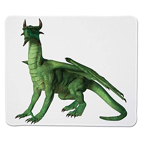 Yanteng Gaming Mouse Pad Kinderdekor, hässlicher Aber niedlicher Drache, der Miniatur-Dino wie Bild-Druck, Grün und Weiß genähter Rand Steht und schaut