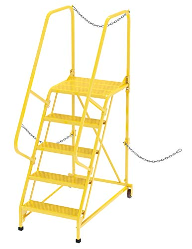 Vestil LAD-STAL-5-P-YL Semi-Trailer Access Ladder, 5-perf Step, 350# Capacity, Yellow