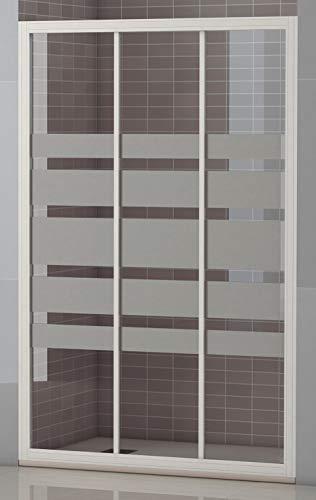 Mampara Frontal Modelo SICILIA.Tres Hojas Correderas, Apertura por ambos lados, Medidas 94-100x185 cm, Cristal 4 mm Decorado Serigrafía, Perfil Aluminio Lacado en Blanco