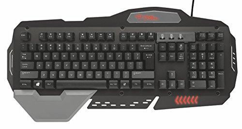 Trust GXT 850 USB QWERTY Spanisch Schwarz - Tastaturen (Verkabelt, USB, Membran-Schlüsselschalter, QWERTY, LED, Schwarz)