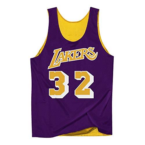 Mitchell & Ness NBA - Canotta reversibile in rete, Los Angeles Lakers Magic Johnson #32, colore: Giallo/Viola giallo. XXL