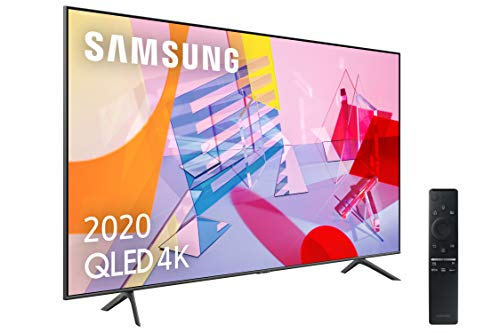 "Samsung QLED 4K 2020 65Q60T - Smart TV de 65"" con Resolución 4K UHD, con Alexa integrada, Inteligencia Artificial 4K Wide Viewing Angle, Sonido Inteligente, One Remote Control"
