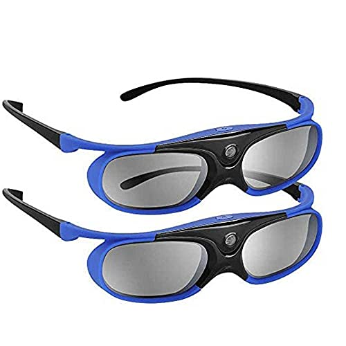144Hz DLP Link 3D Glasses, Rechargeable 3D Active Shutter Glasses for All DLP-Link 3D Projectors, Can't Used for TVs, Compatible with BenQ, Optoma, Dell, Acer, Viewsonic DLP Projector (Blue- 2 Pack)