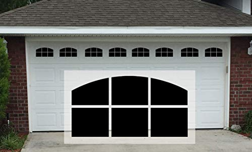 Sanfurney 2 Car Magnetic Garage Door Windows Panes Arch Style Pre-Cut Faux Fake Decorative Window Decals, 8 Sections 14.6
