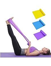 TAIYUNWEI Set med motståndsband, [set med 3] 1,5 m/1,5 m hudvänliga träningsband med 3 motståndsnivåer, träningsband för kvinnor/män, perfekt för styrketräning, yoga, pilates, fitness