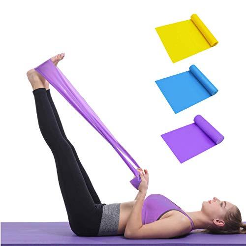Kit de bandas de resistencia, [juego de 3] 1.5 m bandas de yoga para ejercicio con 3 niveles de resistencia, bandas de resistencia para entrenamiento, ideal para yoga, pilates, fitness