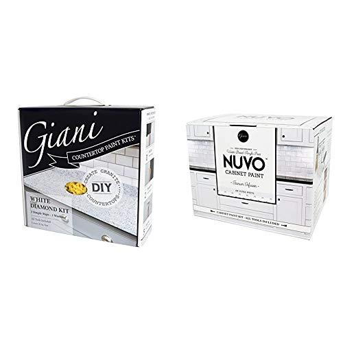 Giani White Diamond Countertop Paint Kit & Nuvo Titanium Infusion 1 Day Cabinet Makeover Kit