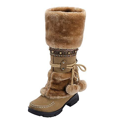 Mymyguoe Frauen Langschaft Stiefeletten Boots Wildleder Hairball Round Toe Square Heel Schuhe Halten...