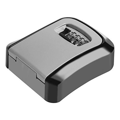 Bloqueo de seguridad para almacenamiento de llaves, caja de bloqueo de almacenamiento de seguridad segura para llaves de 4 dígitos, organizador de montaje en pared combinado