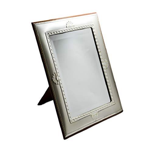 Acca spiegel en wandlijst van geslepen glas met gesatineerde sculptuur in zilver Castellani en schelpen