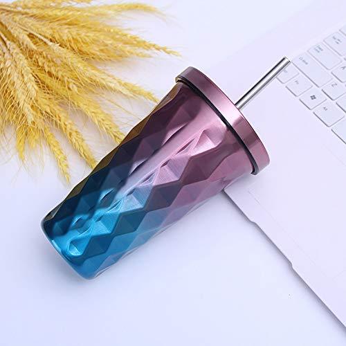 Trinkbecher mit Strohhalm Edelstahl Thermo Kaffeebecher to go 500ml Kaffeetassen für Frauen-Mädchen-Männer (Lila)
