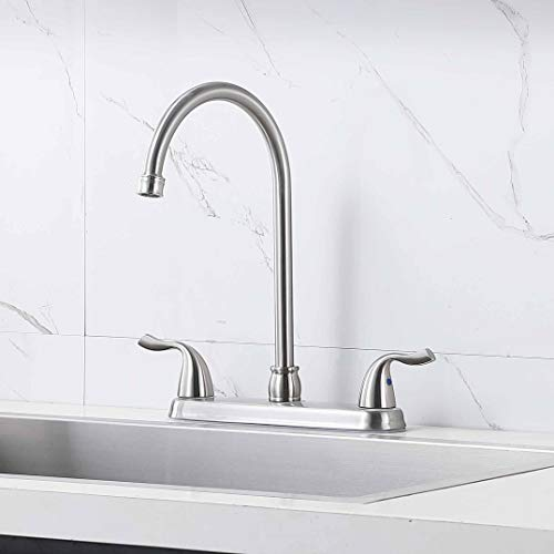 Hotis Stainless Steel Two Handle Kitchen Faucet for Mobile Motor Homes,Trailers, Campers , Brushed Nickel Lead-Free Faucet Kitchen