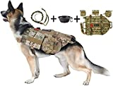 Dog Tactical Harness, 1000D Nylon Molle Vest with Leash, 3 Pouches, 3 Patches, Collapsible BPA Free Bowl, Camo Large