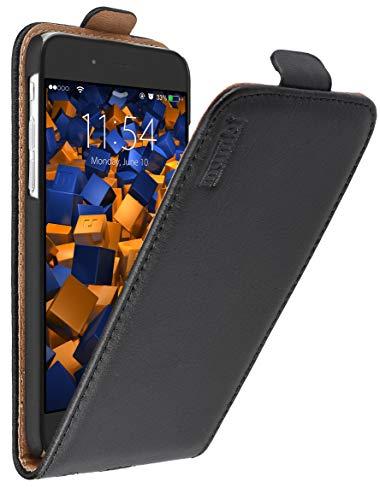 mumbi Echt Leder Flip Case kompatibel mit iPhone 6 / 6S Hülle Leder Tasche Case Wallet, schwarz