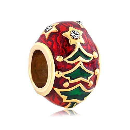 Christmas Tree Gold Plated Pugster Charm Fits DIY Pandora Bracelet