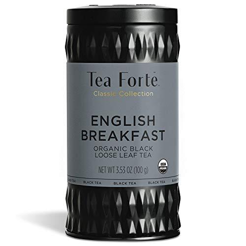 Tea Forté English Breakfast | Té negro suelto orgánico | Capacidad 100 g | 35 a 50 tazas | Lata reutilizable |