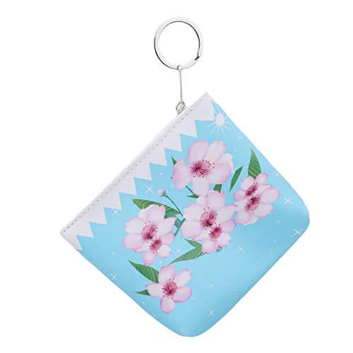 VWH Loisirs Fleur Zip Carré Portefeuille Mme Mini Sac À Main Petit Propre PU Portefeuille(bleu)