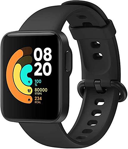 Xiaomi Mi Watch Lite – Relógio inteligente preto, rastreador de atividades com monitor de frequência cardíaca, monitor de atividades com tela sensível ao toque de 1,4 polegadas, relógio pedômetro à prova d'água 5 ATM, pedômetro masculino e feminino