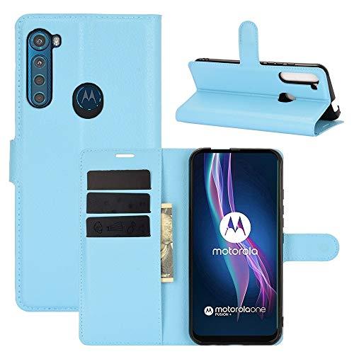 SHUFEIVICC For el Caso Protector del tirón de Motorola Una Fusion + Litchi Textura Horizontal con el sostenedor y Ranuras for Tarjetas y Monedero (Color : Blue)