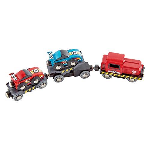 Hape Race Car Transporter | Six-Piece Wooden Toy Train Car Transport Set for Kids Multicolor, L: 11, W: 2, H: 1.5 inch