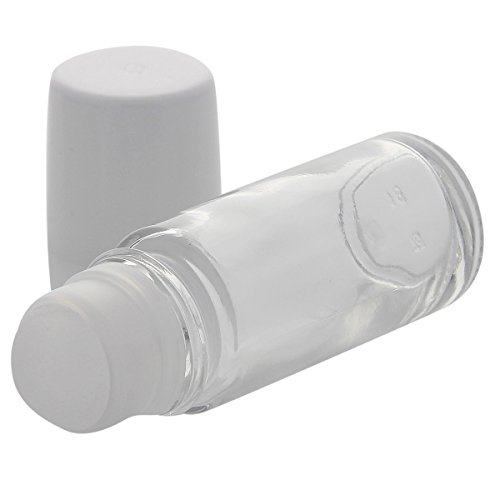 Klare Deostick Glas-Flaschen, 50ml, Kosmetex Roll-On Deo-Roller, leer zum selbst Befüllen, 3 Stück