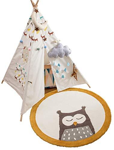 Annco Super weiche und bequeme Bodenmatte, schöne Schlafzimmer-Dekoration, rutschfeste Spielmatte, runder Teppich für Wohnzimmer, Kinderzimmer-Zubehör, Babyzimmer-Teppich (100 x 100 cm)