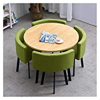 耐久性のあるテーブルと椅子のセット 表オフィス会議室ラウンジ4革張りの椅子をダイニングシンプルなテーブルと椅子セットモダンデザイン円卓バルコニーリビングルーム DYYD (Color : B)