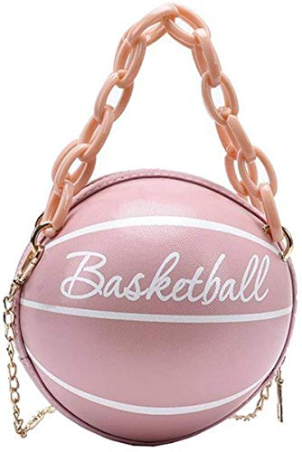 MRZJ Bandolera para mujer de baloncesto, redonda, de piel sintética, con bolsillo cruzado