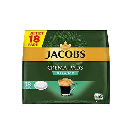 Jacobs Pads Crema Balance, 90 Senseo kompatible Kaffeepads UTZ-zertifiziert, 5er Pack, 5 x 18 Getränke