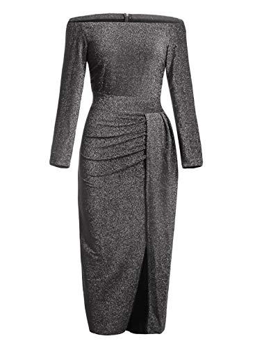 Z-one Damen Off Shoulder Kleider für Hochzeit Elegant Maxikleider Glänzend Hoch Geschnitten Abendkleider (S-XL) (Schwarz, (EU 44-46) L)