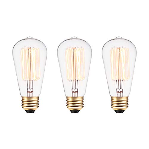 60W Vintage Edison S60 Squirrel Cage Incandescent Filament Light Bulb 3-Pack, E26 Base, 245 Lumens,31321