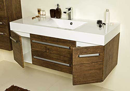 Quentis Badmöbel Zeno, Breite 120 cm, Waschbecken mit Unterschrank, Holzdekor antik, Waschbeckenunterschrank montiert