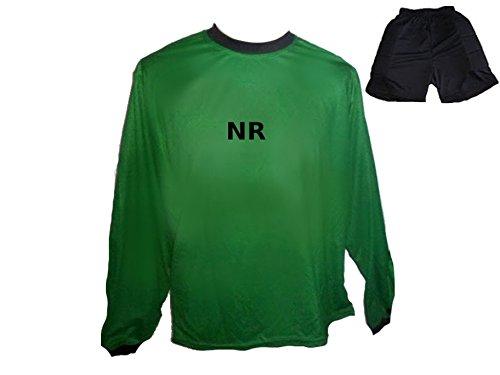 Torwart Trikot gepolstert Grün kurze TW Hose mit Wunschname Nummer Kinder Größe 164