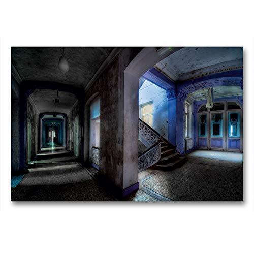 CALVENDO Premium Textil-Leinwand 90 x 60 cm Quer-Format Altes Badehaus in Belgien, Leinwanddruck von Eleonore Swierczyna