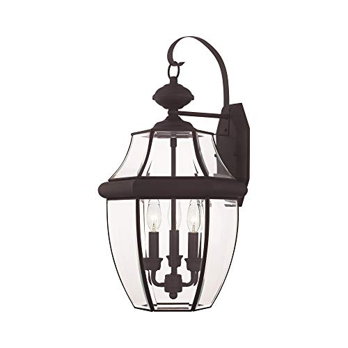 Livex Lighting 2351-07 Monterey 3 Light Outdoor Bronze Finish Solid Brass Wall Lantern with Clear Beveled Glass