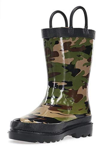 Western Chief Boys Waterproof Printed Rain Boot with Easy Pull On Handles, Camo, 4 M Kid