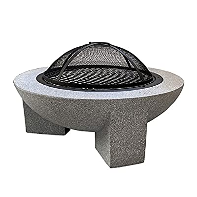 Fire Pit Outdoor fire Pit, 30-inch Round fire Pit, Used for Cooking Barbecue, with Spark Screen and Fireplace Poker by Lijack