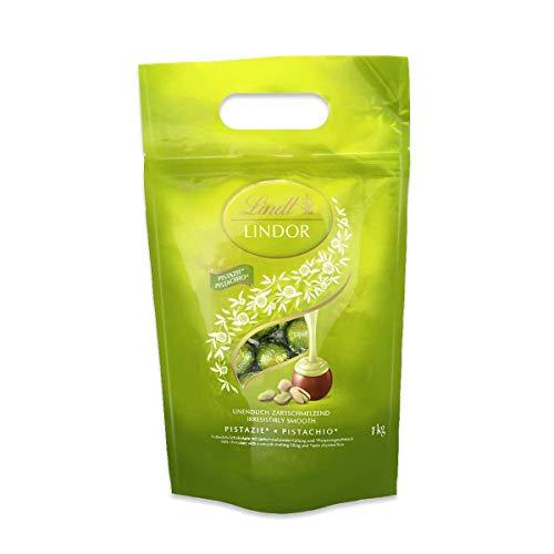 Lindt LINDOR Beutel Pistazie, Milch-Schokolade mit einer zartschmelzenden Pistaziencrèmefüllung, Geschenk, Großpackung, (ca. 80 Kugeln), 1 kg