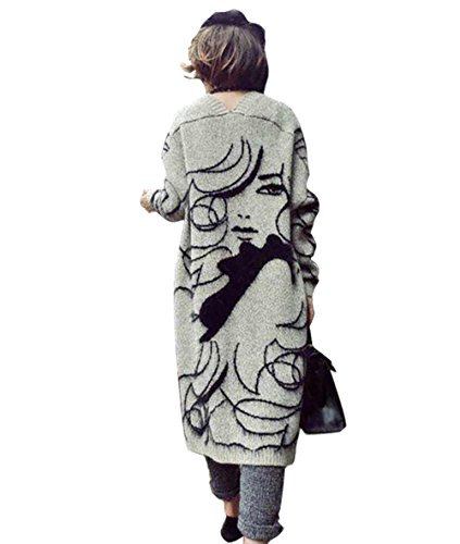 HAHAEMMA Fashion Damen Herbst Winter Strickjacke Vorne Offen Cape Poncho Knielang Pullover Warm Frau Muster Fashion Lang Flaumig Wolle Sweater Flauschig Loose Fit One Size