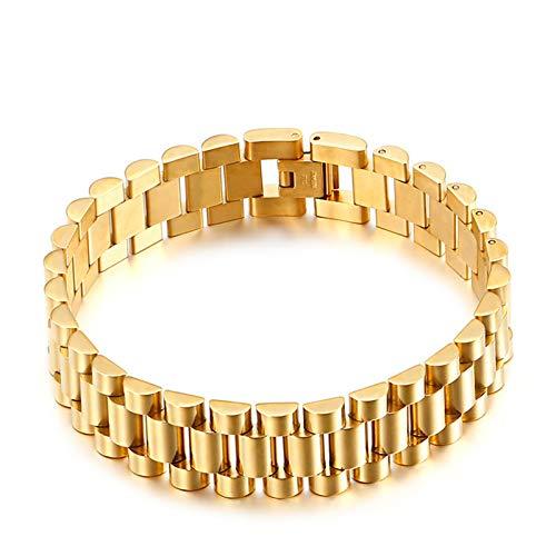 YUNLAN 15mm Stainless Steel Link Bracelet Ring Strap Men's Women's Luxury Bracelet Gold Bracelet Bracelet Men's Jewelry bracelet (Color : C)