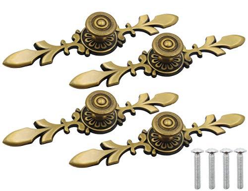 LBY 4pcs Cabinet Knobs Pulls Handles, Antique Style Bronze Pull Handle Knob, Cabinet Knobs with Plate and Screws, Wardrobe Door Furniture Pulls (Dia. 27mm/1.06'') Zinc Alloy Green Bronze