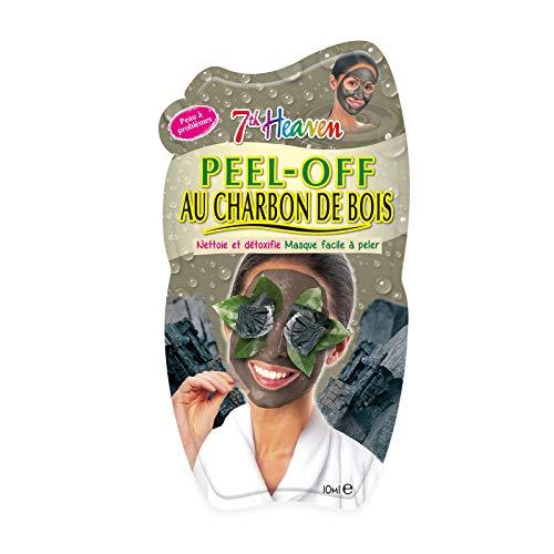 7th Heaven - 12 Masques Peel-Off au Charbon de Bois - Masque Détox et Nettoyant - Facile à Peler - Pour Peau à Problèmes - Cruelty Free 100% Vegan - Boîte de 12 Masques