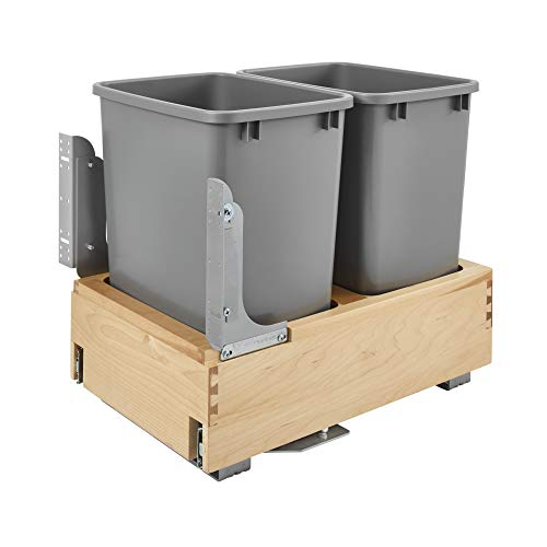 Rev-A-Shelf 4WCBM-18DM-2 Double-35 Quart Kitchen Base Cabinet Pull Out Waste Containers Trash Cans with Soft Open & Close, Natural