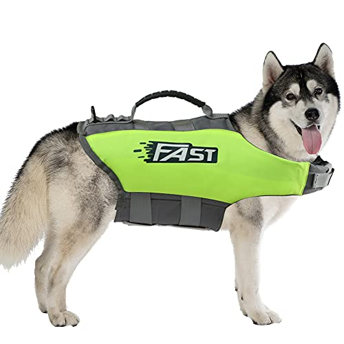 Adjustable Dogs Swim Vest, Life Jackets for Dogs Pet Floatation Vest Dog Life Preserver for Beach Boating with Rescue Handle XL