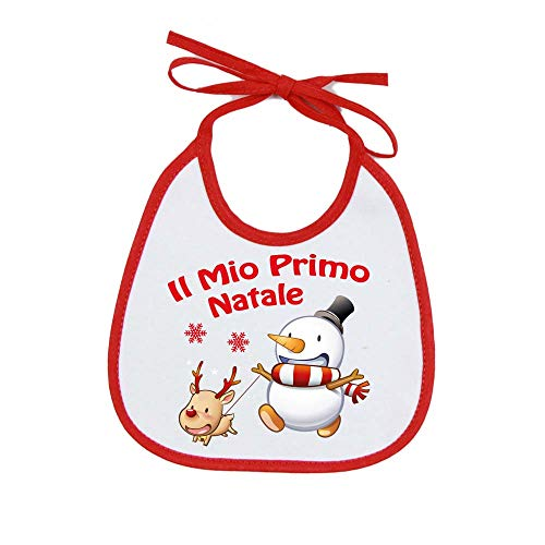 Bavetta Neonato'IL MIO PRIMO NATALE' Bavetta Natalizia Cotone 100% Made in Italy (PUPAZZO E RENNA)